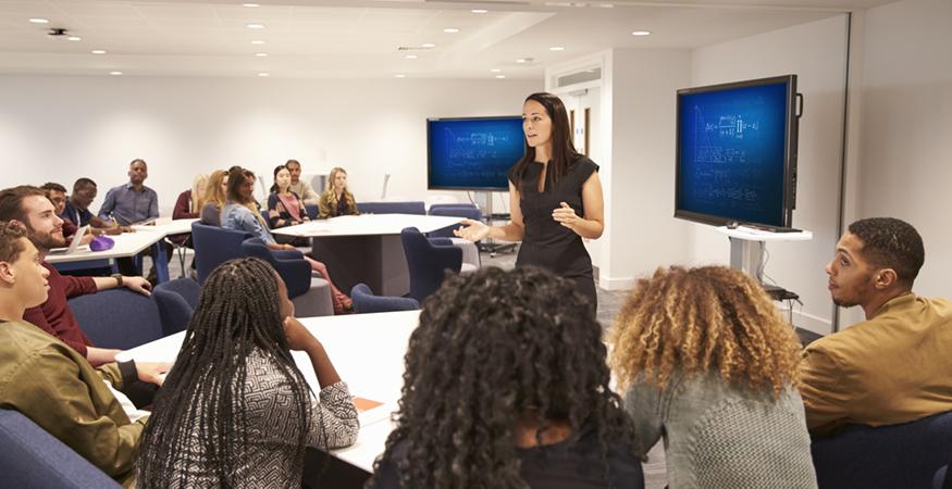 woman teaching in a classroom