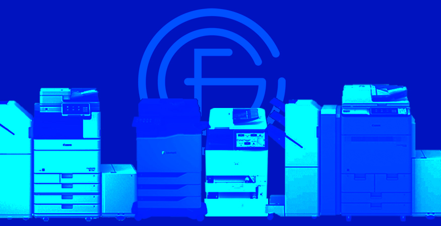 GFC logo graphic with printers