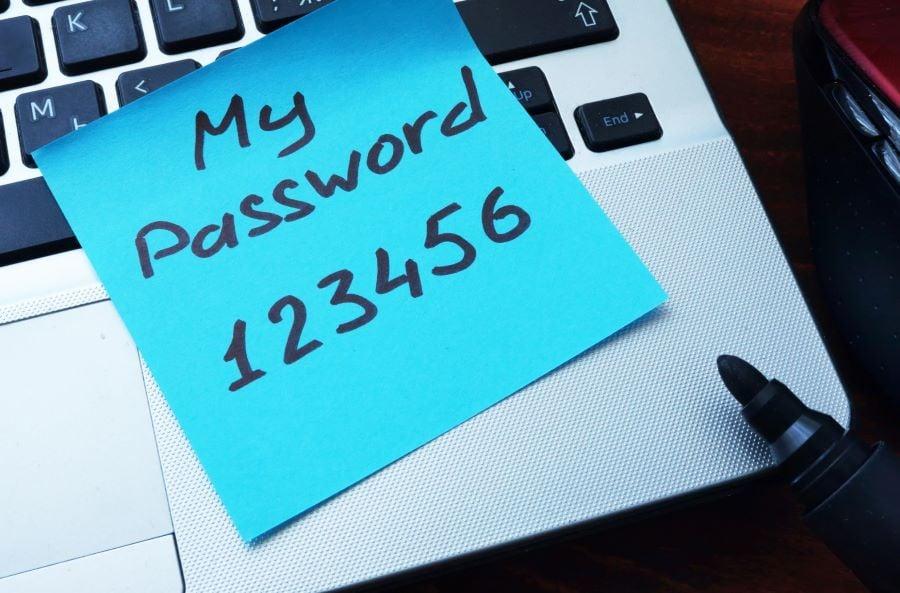 my password on sticky note