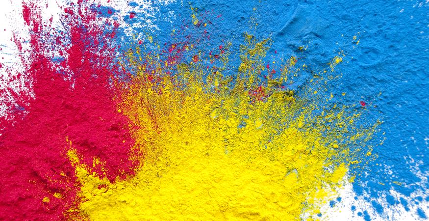 pink yellow blue color splash